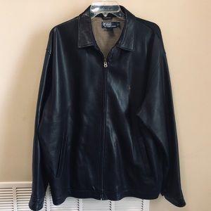 Polo Ralph Lauren Black Genuine Leather Jacket XL